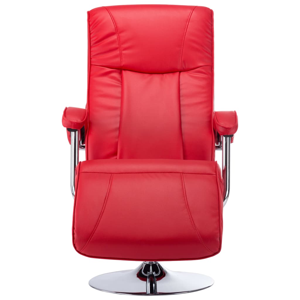 TV Armchair Red Faux Leather 4