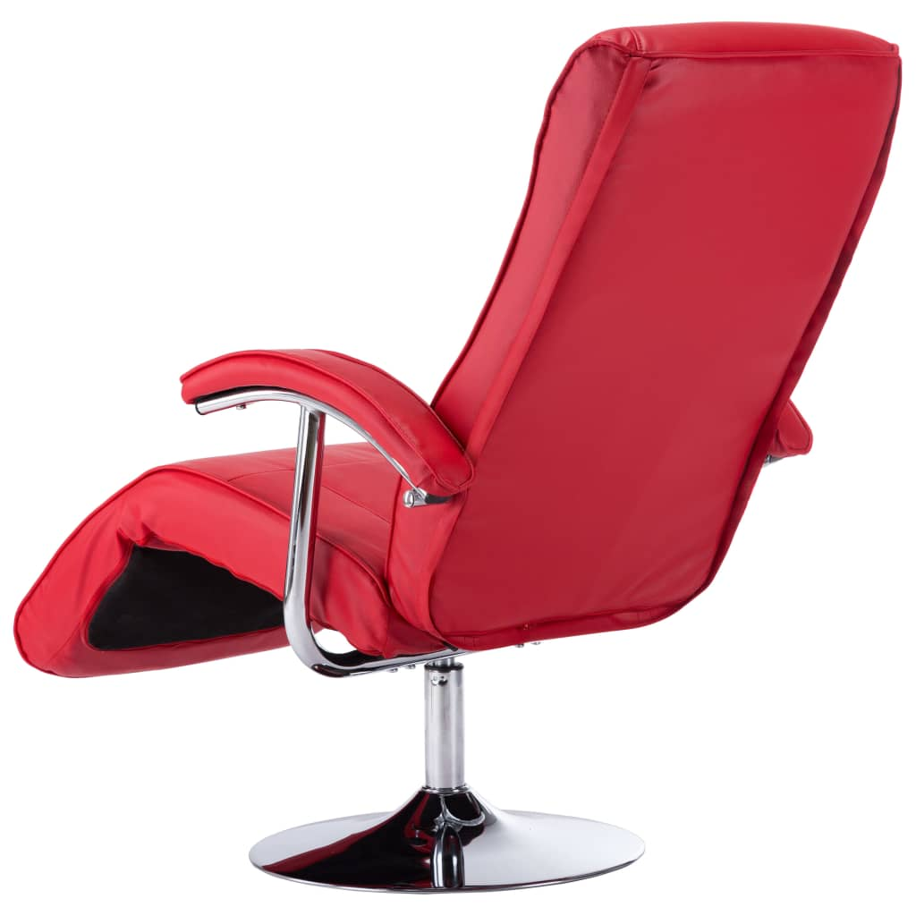 TV Armchair Red Faux Leather 7