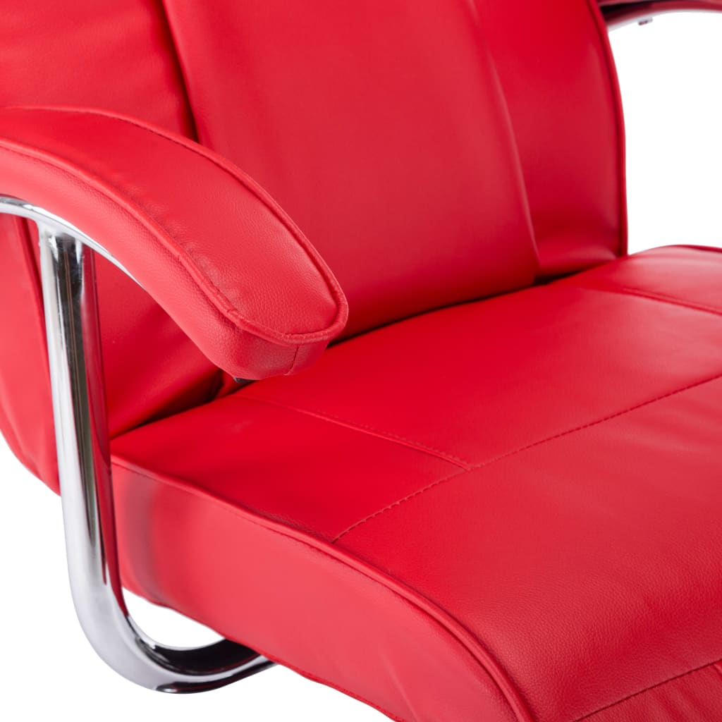 TV Armchair Red Faux Leather 8