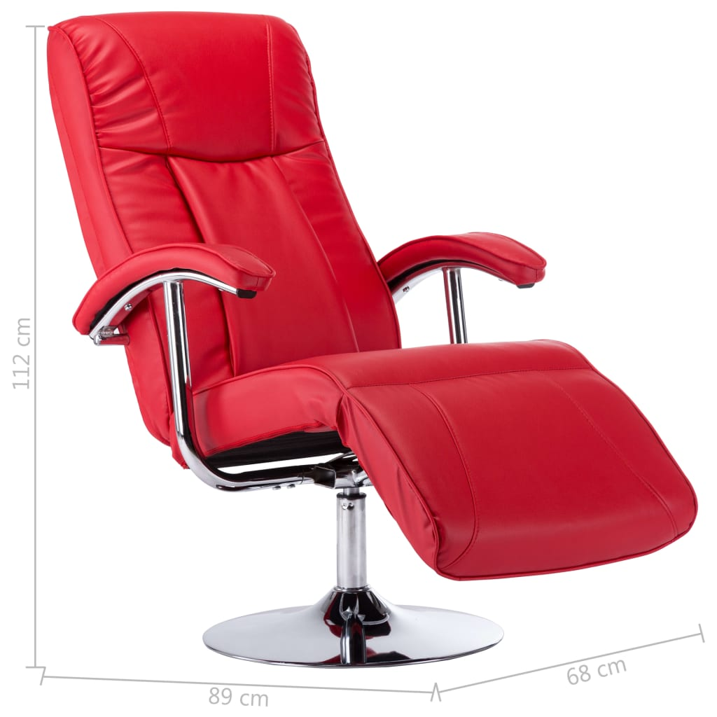 TV Armchair Red Faux Leather 9