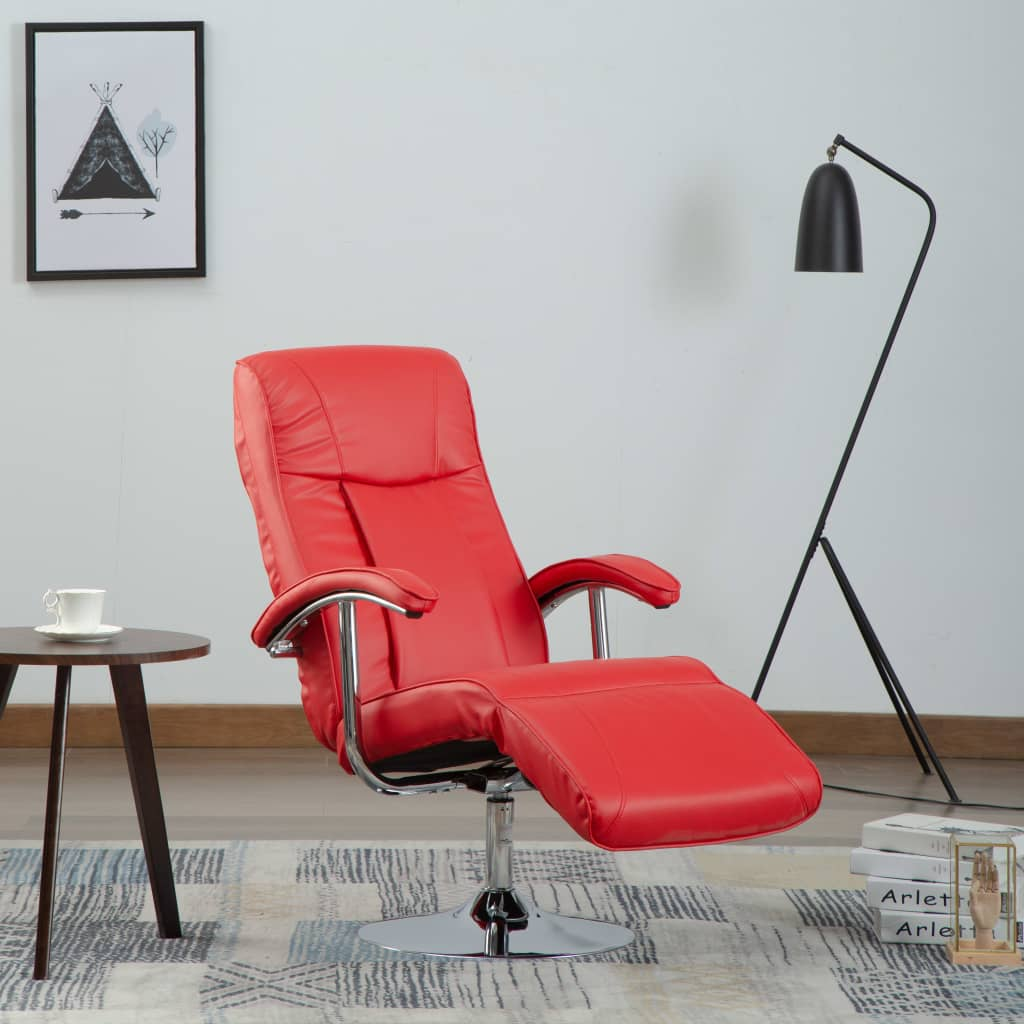 TV Armchair Red Faux Leather 1