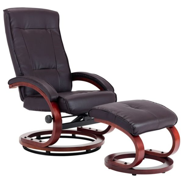 Reclining Chair with Footstool Brown Faux Leather 2