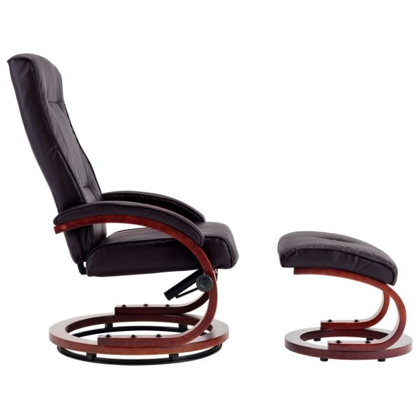 Reclining Chair with Footstool Brown Faux Leather 4