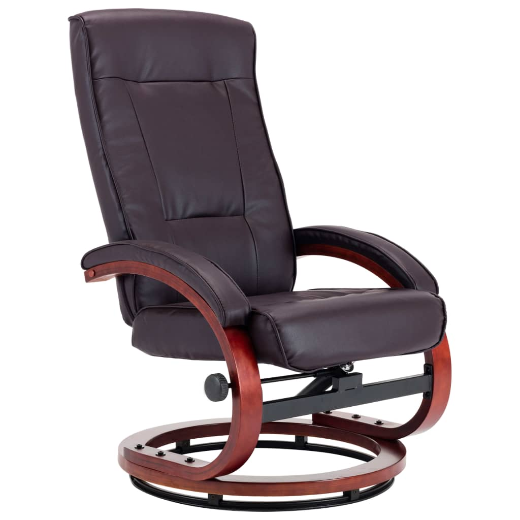 Reclining Chair with Footstool Brown Faux Leather 5