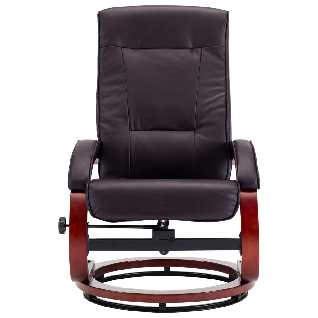 Reclining Chair with Footstool Brown Faux Leather 6