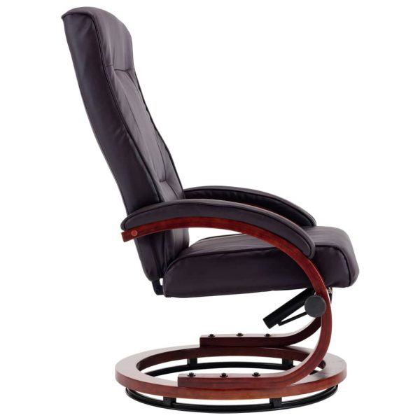 Reclining Chair with Footstool Brown Faux Leather 7
