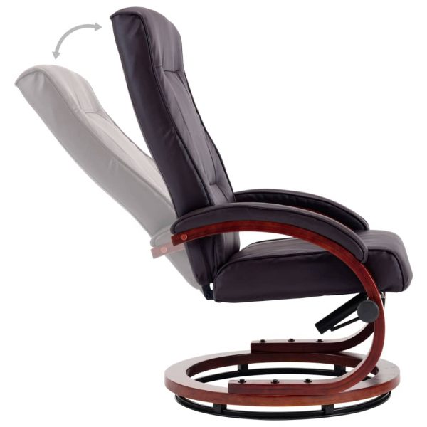 Reclining Chair with Footstool Brown Faux Leather 8