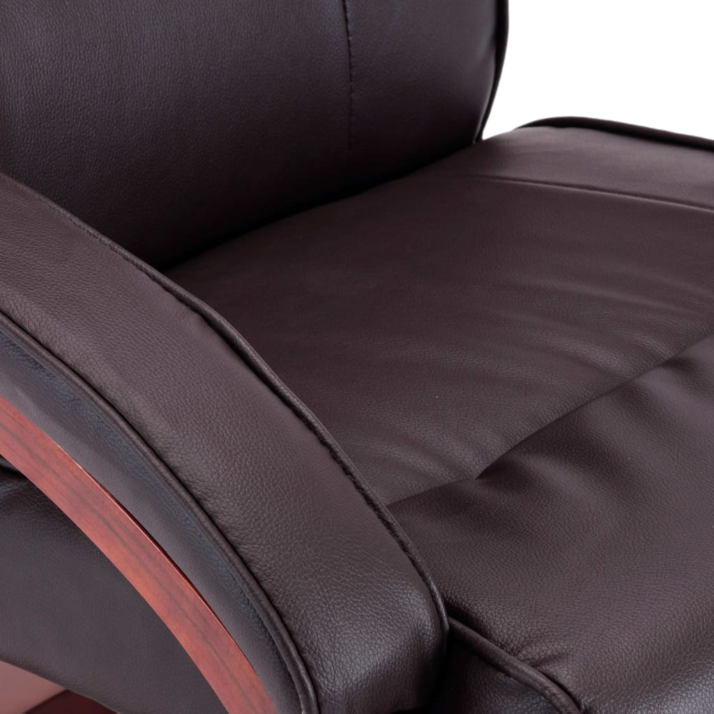 Reclining Chair with Footstool Brown Faux Leather 10