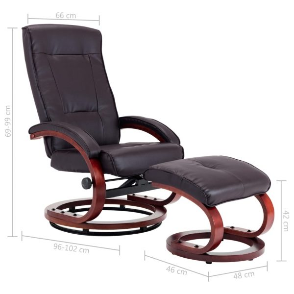 Reclining Chair with Footstool Brown Faux Leather 11
