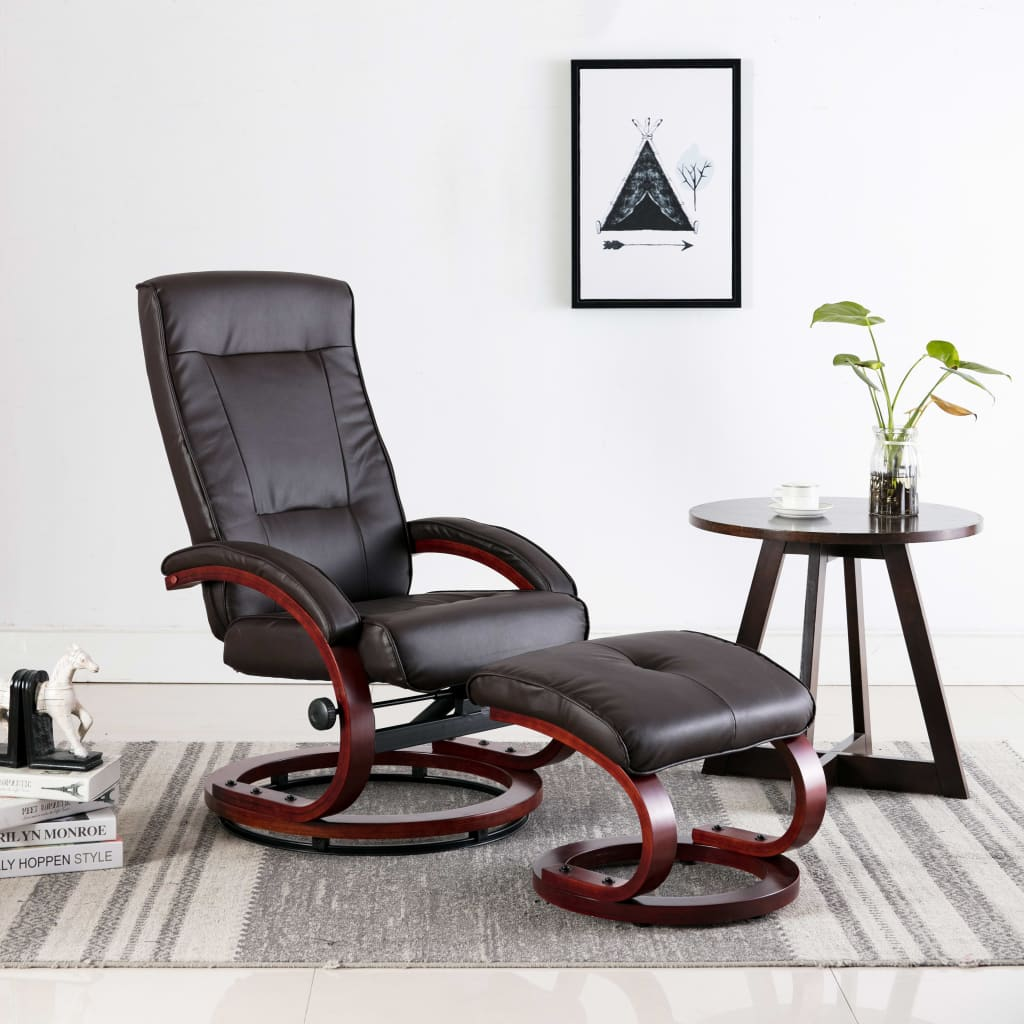 Reclining Chair with Footstool Brown Faux Leather 1