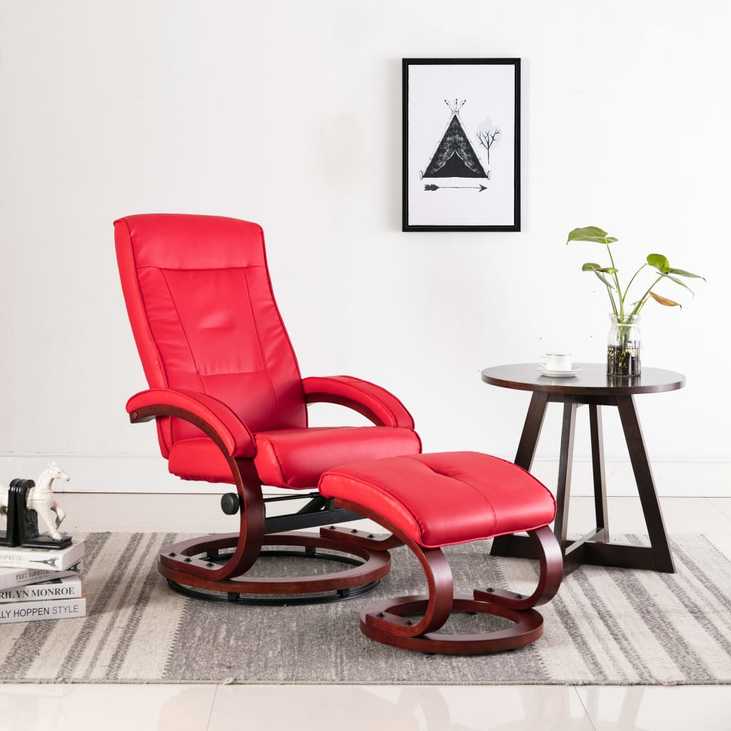 Reclining Chair with Footstool Red Faux Leather 1