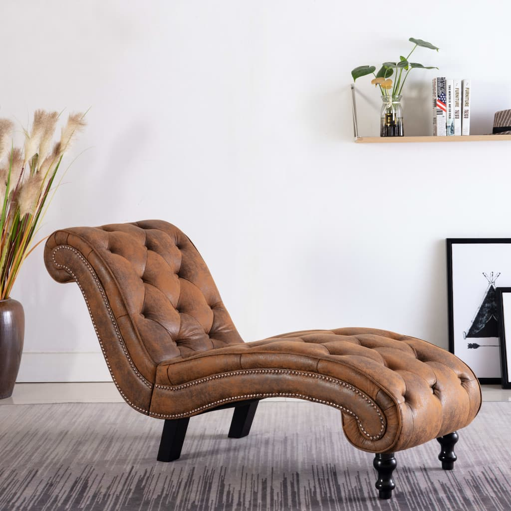 Chaise Lounge Brown Faux Suede Leather 1