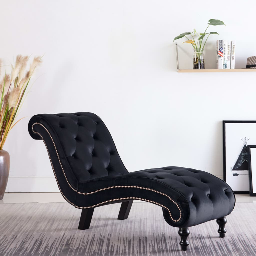 Chaise Lounge Black Velvet 1