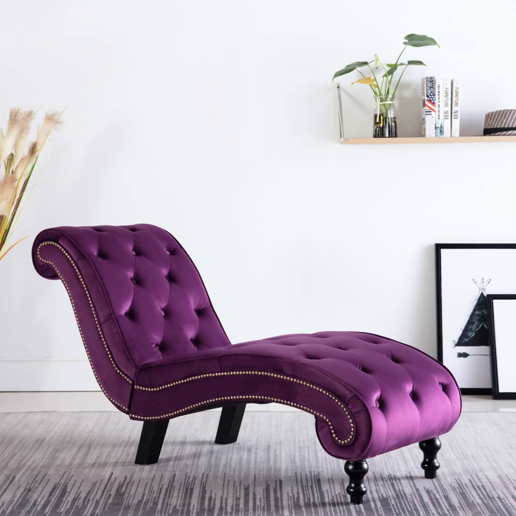 Chaise Lounge Purple Velvet