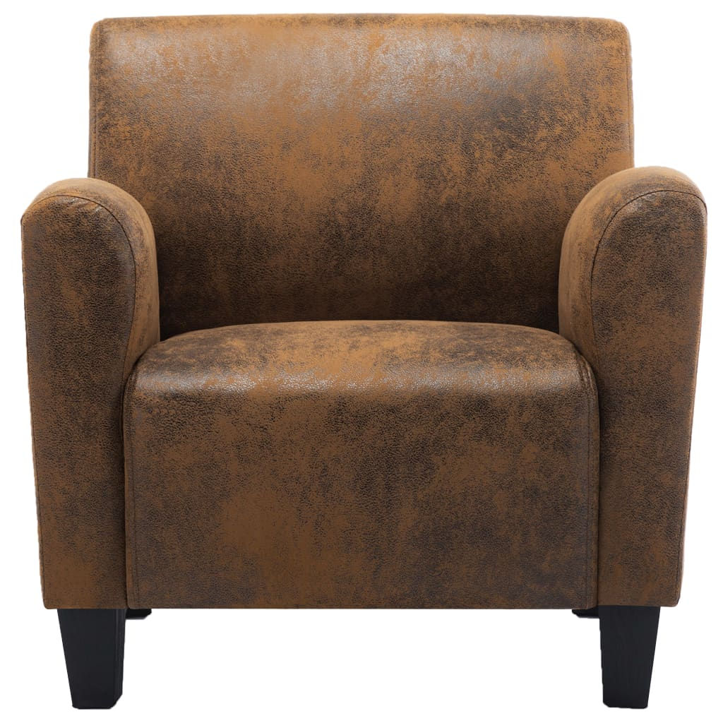 Sofa Chair Brown Faux Suede Leather 4