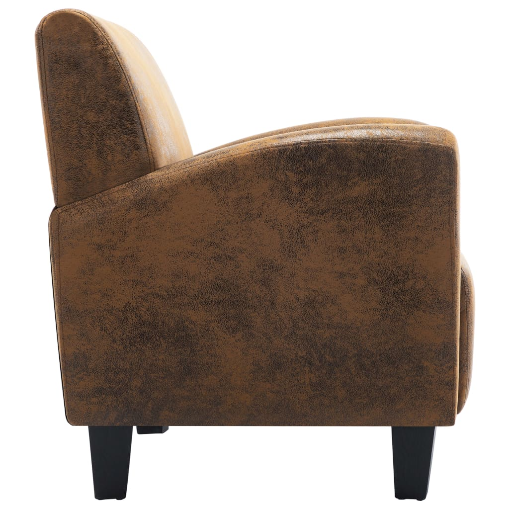 Sofa Chair Brown Faux Suede Leather 5