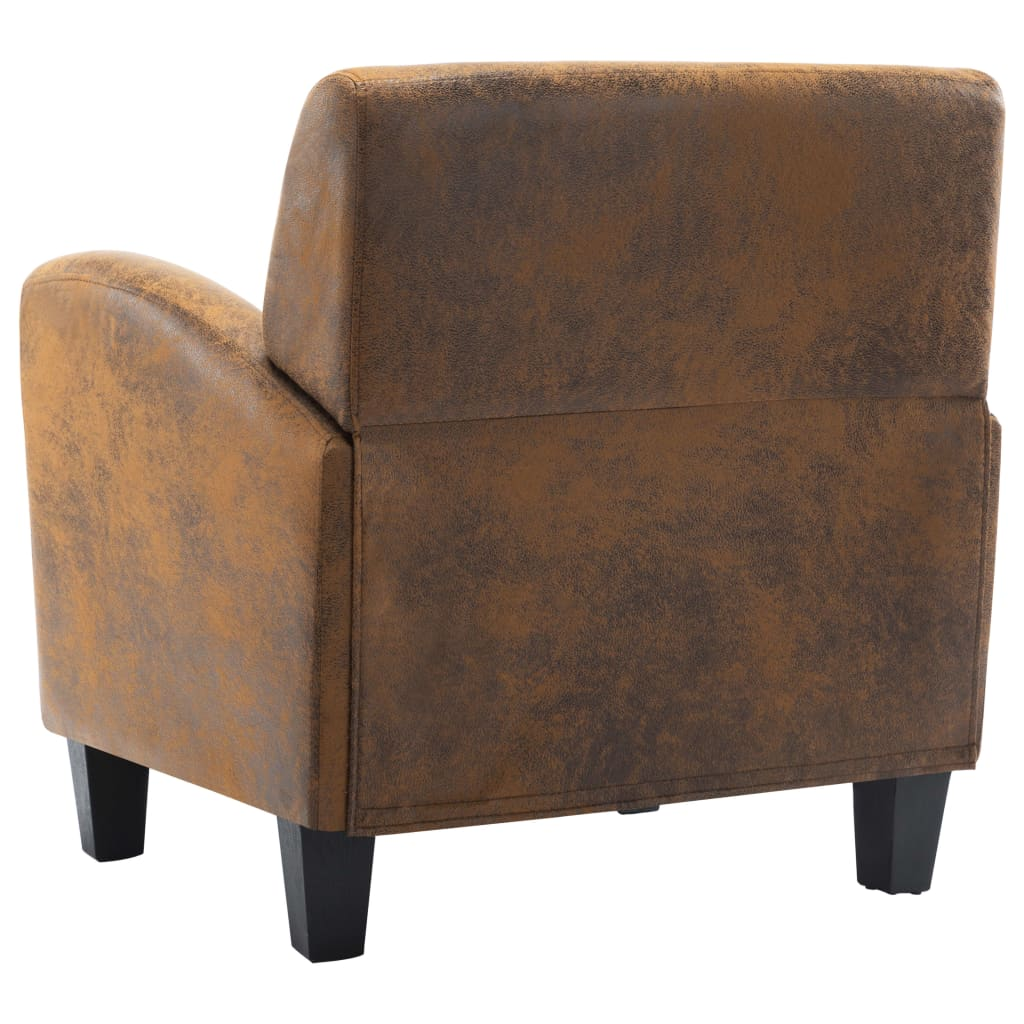 Sofa Chair Brown Faux Suede Leather 6