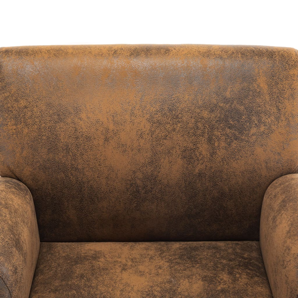 Sofa Chair Brown Faux Suede Leather 7