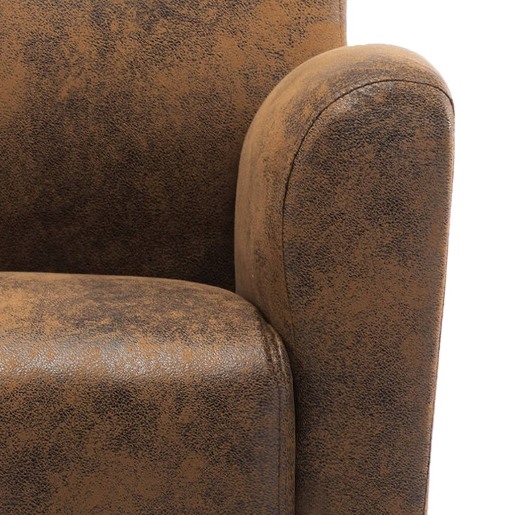 Sofa Chair Brown Faux Suede Leather 8