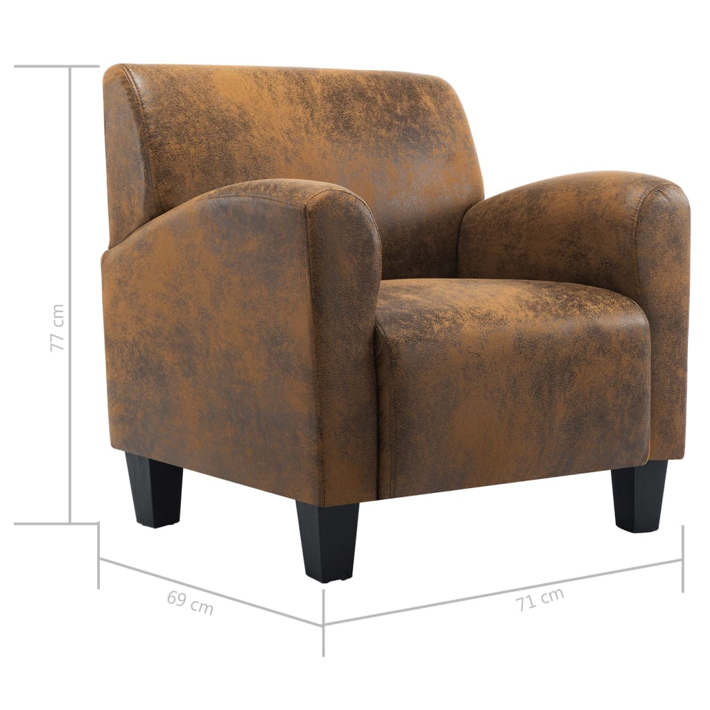 Sofa Chair Brown Faux Suede Leather 9