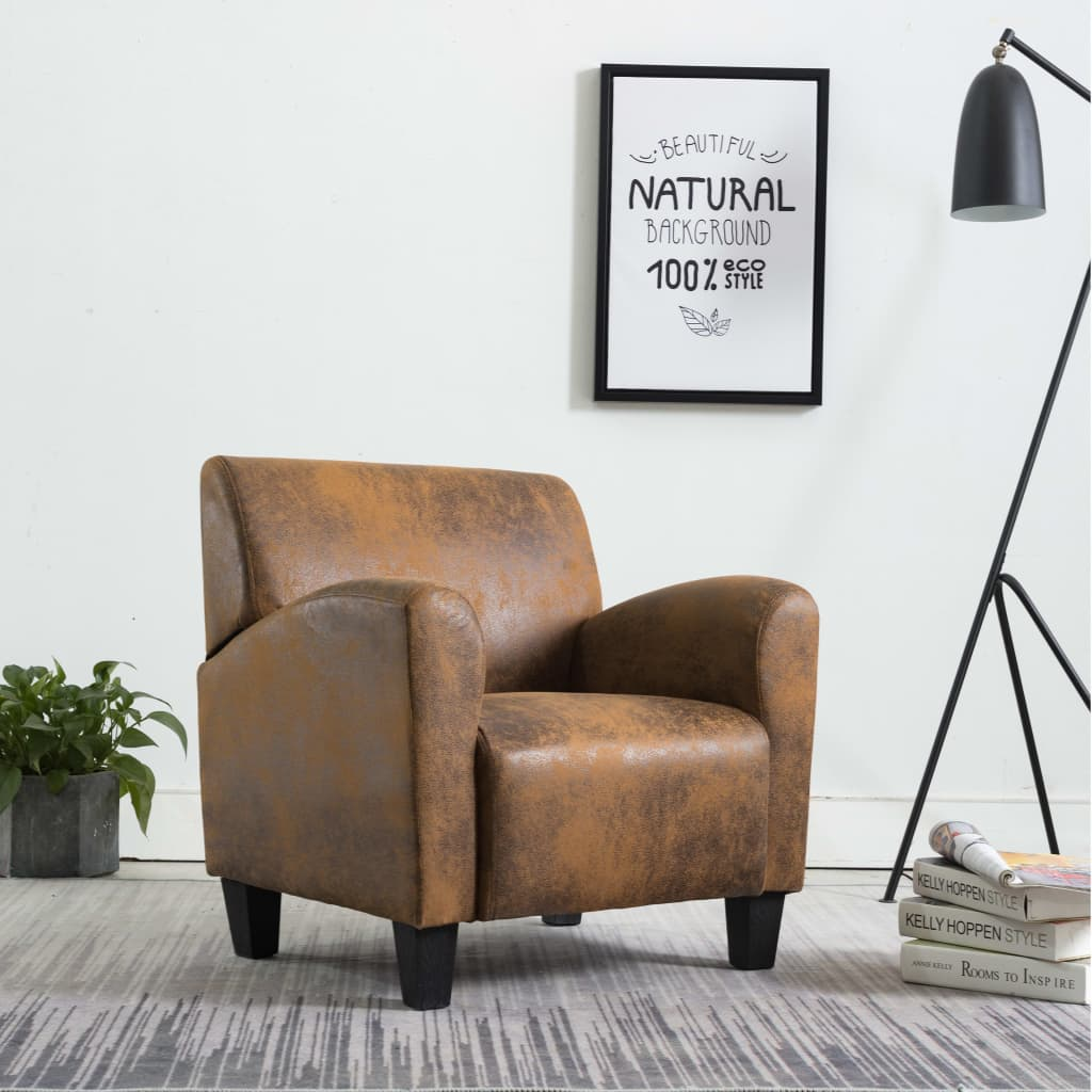Sofa Chair Brown Faux Suede Leather 1