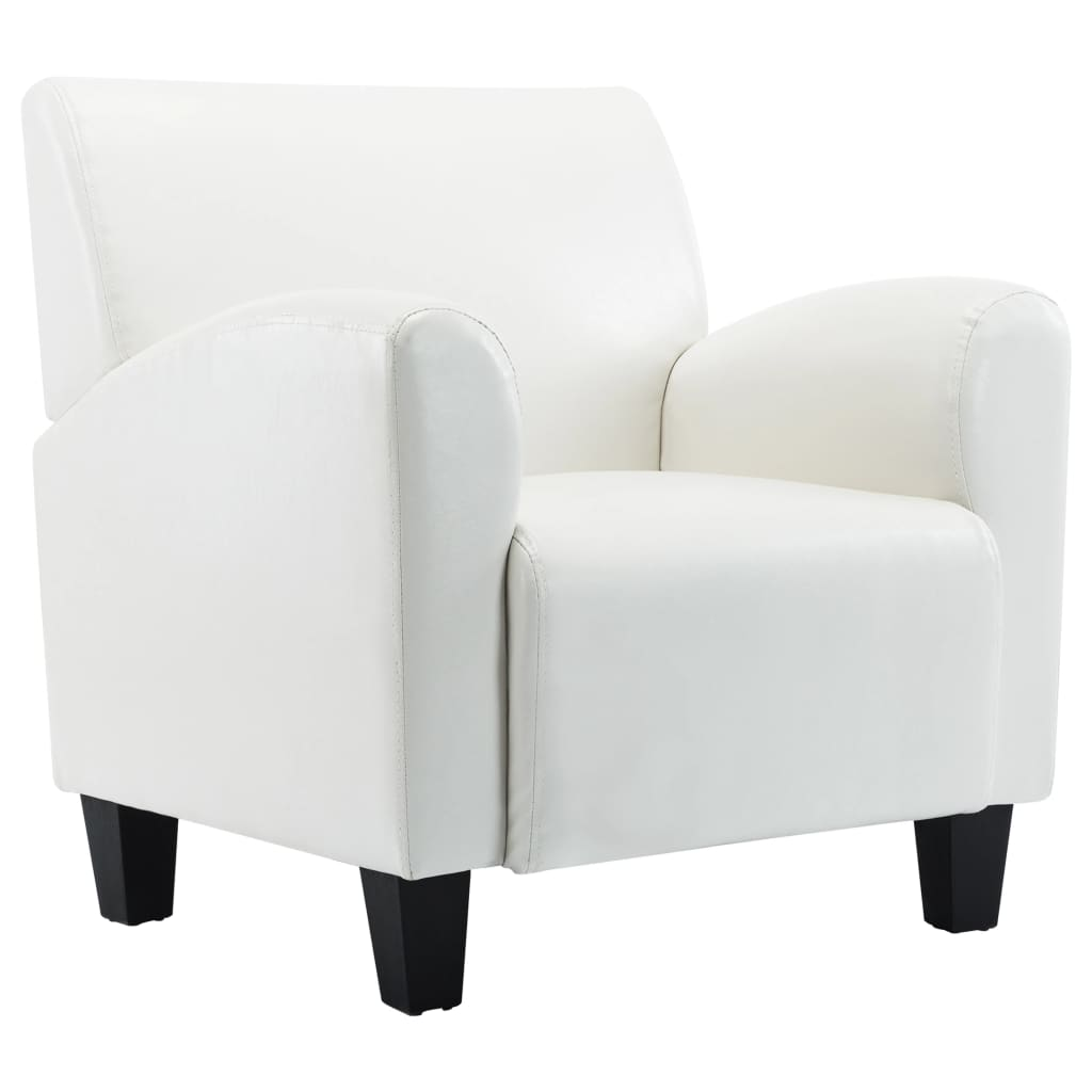 Sofa Chair White Faux Leather 2