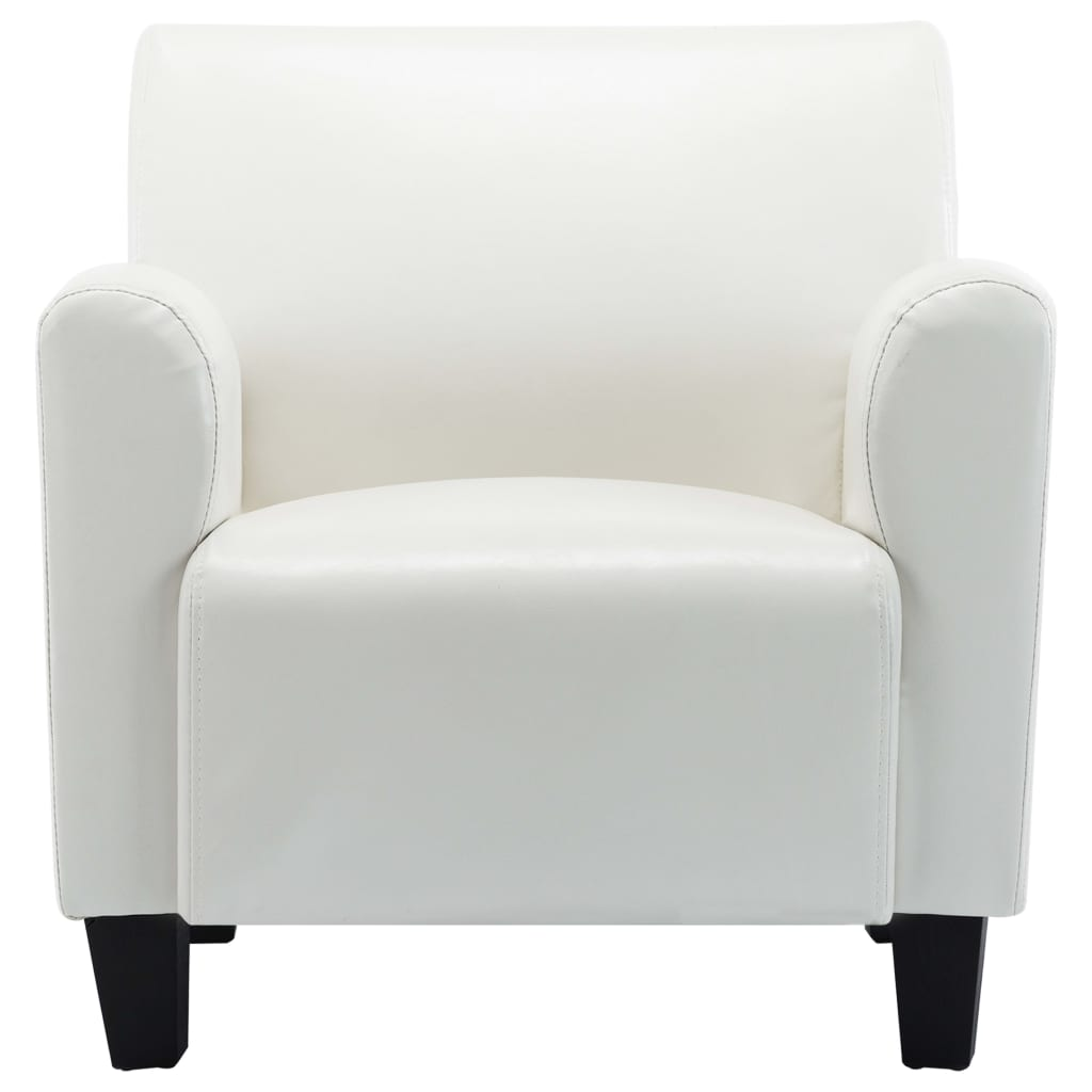Sofa Chair White Faux Leather 5