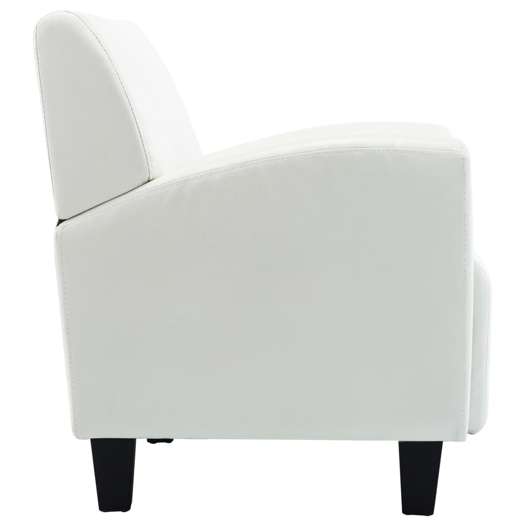 Sofa Chair White Faux Leather 6