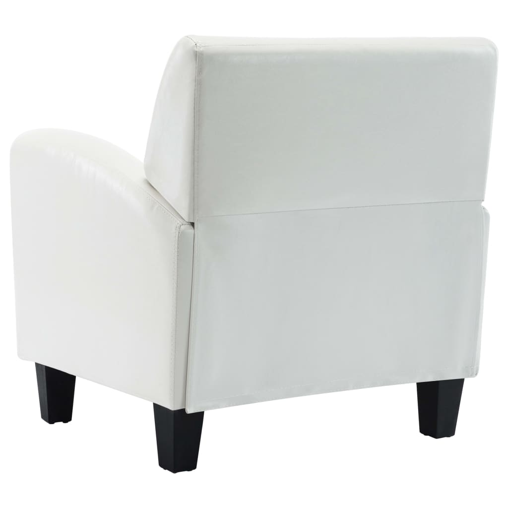 Sofa Chair White Faux Leather 7