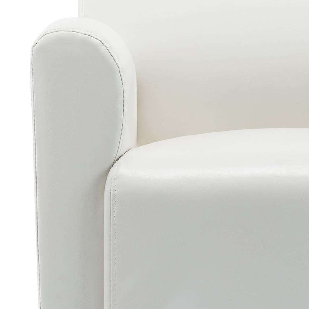 Sofa Chair White Faux Leather 8
