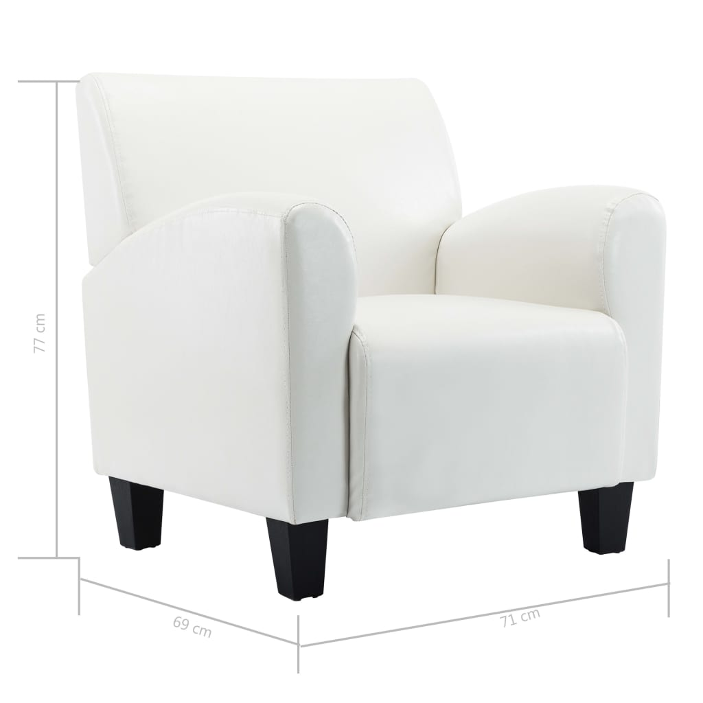 Sofa Chair White Faux Leather 9