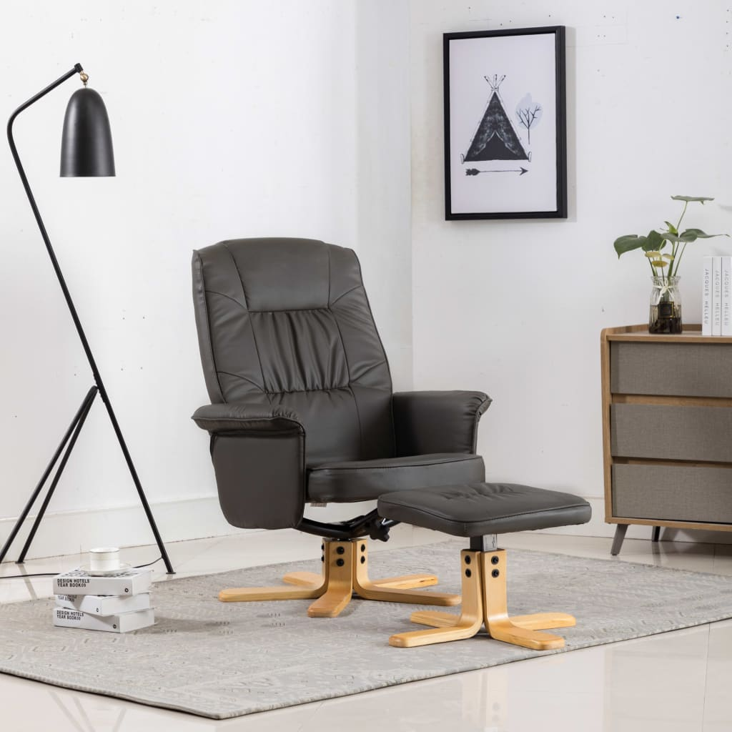 Armchair with Footrest Grey Faux Leather