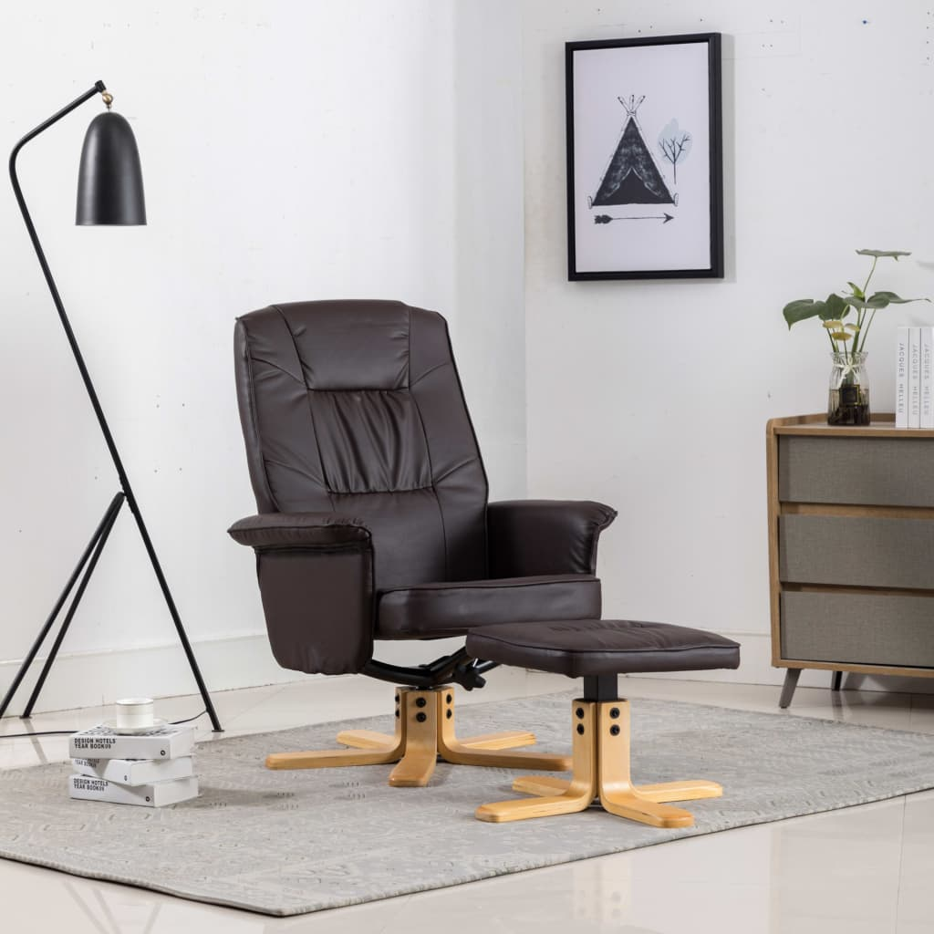 Armchair with Footrest Brown Faux Leather