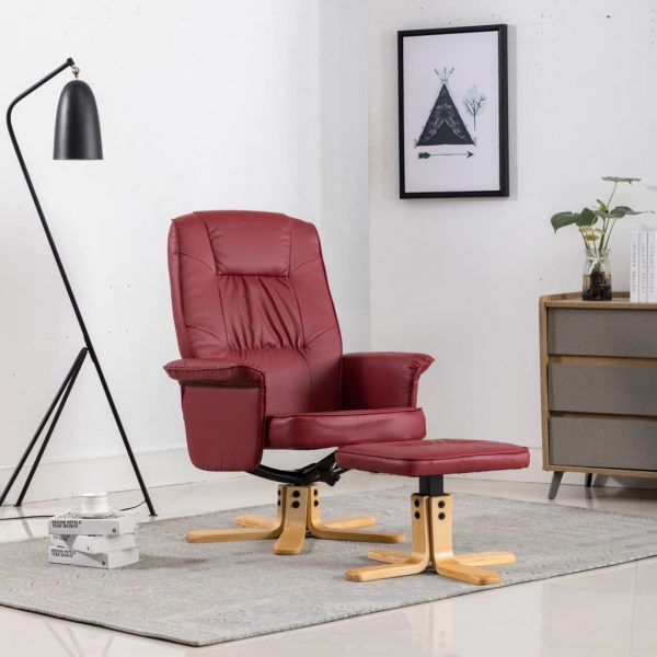 Armchair with Footrest Wine Red Faux Leather 2