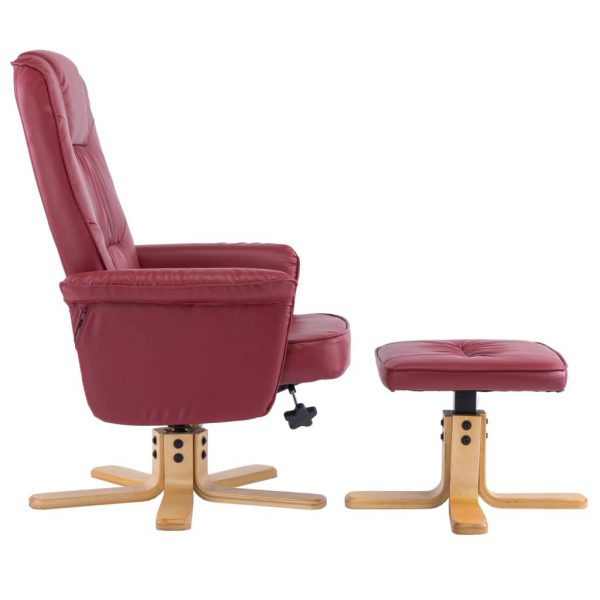 Armchair with Footrest Wine Red Faux Leather 5