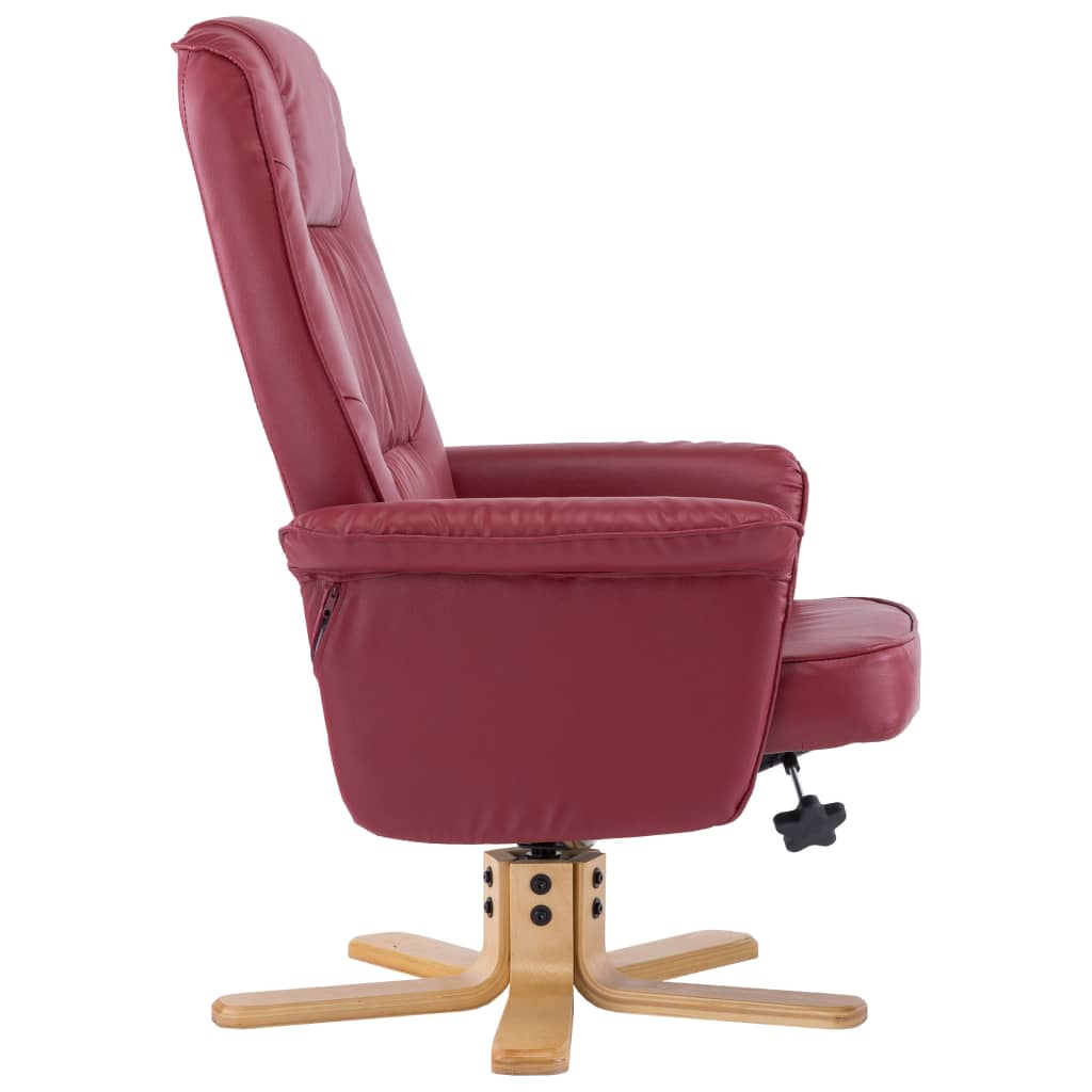 Armchair with Footrest Wine Red Faux Leather 6