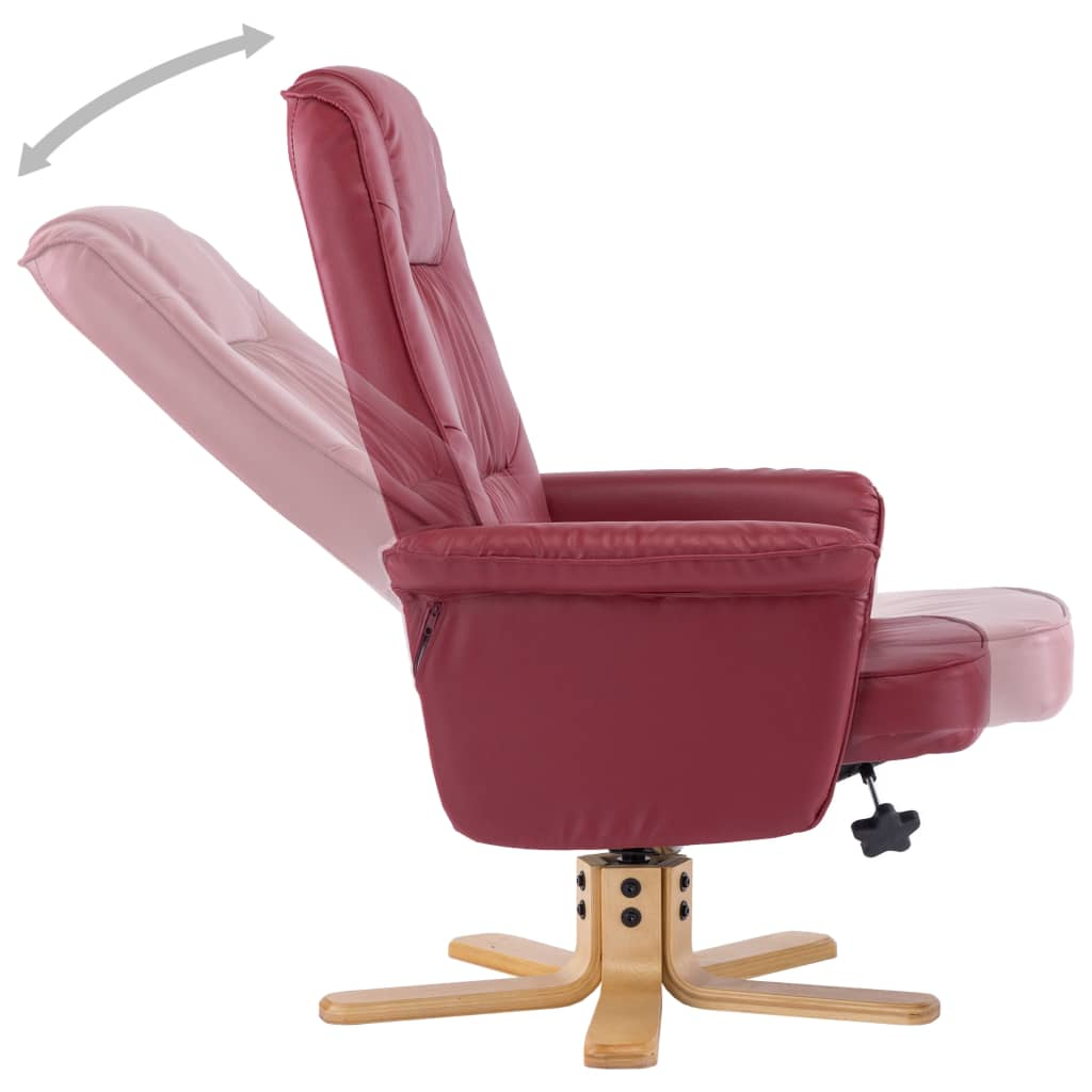 Armchair with Footrest Wine Red Faux Leather 7