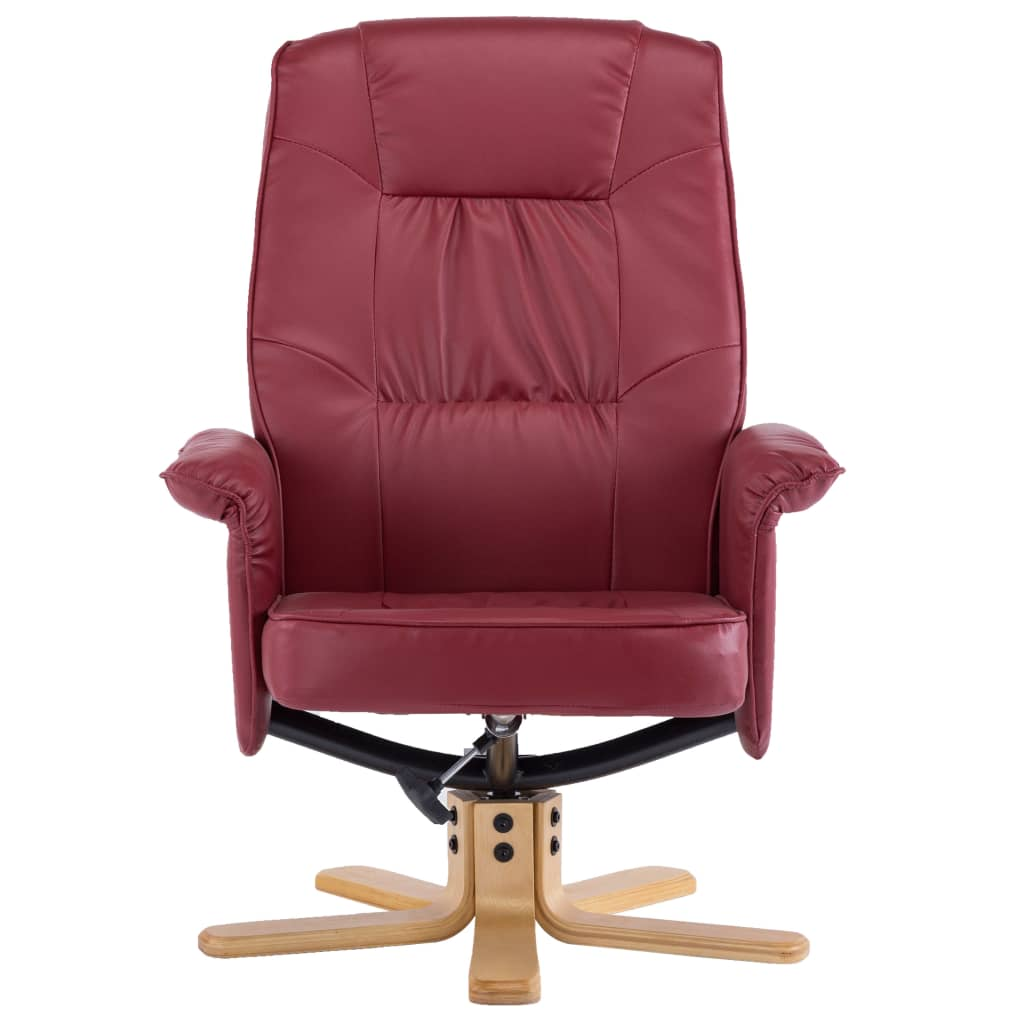 Armchair with Footrest Wine Red Faux Leather 8