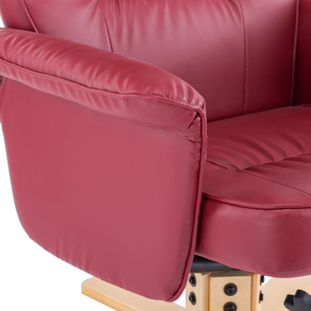 Armchair with Footrest Wine Red Faux Leather 10