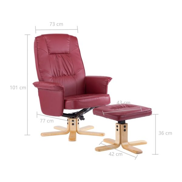 Armchair with Footrest Wine Red Faux Leather 11