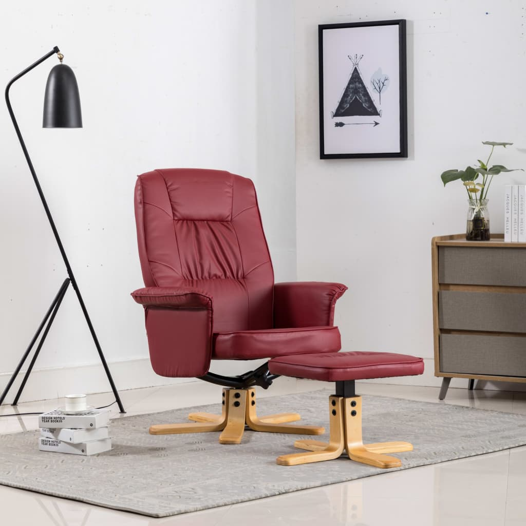 Armchair with Footrest Wine Red Faux Leather 1