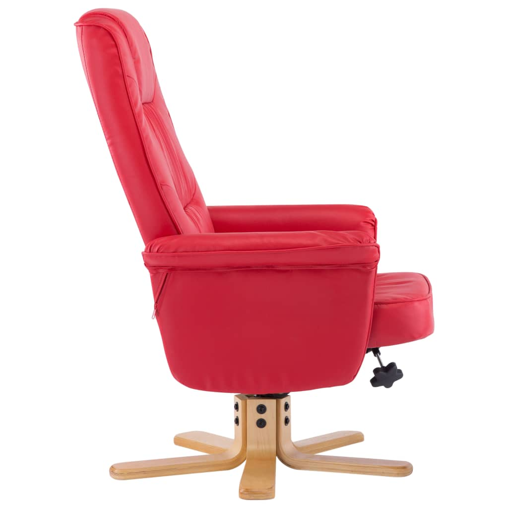 Armchair with Footrest Red Faux Leather 5