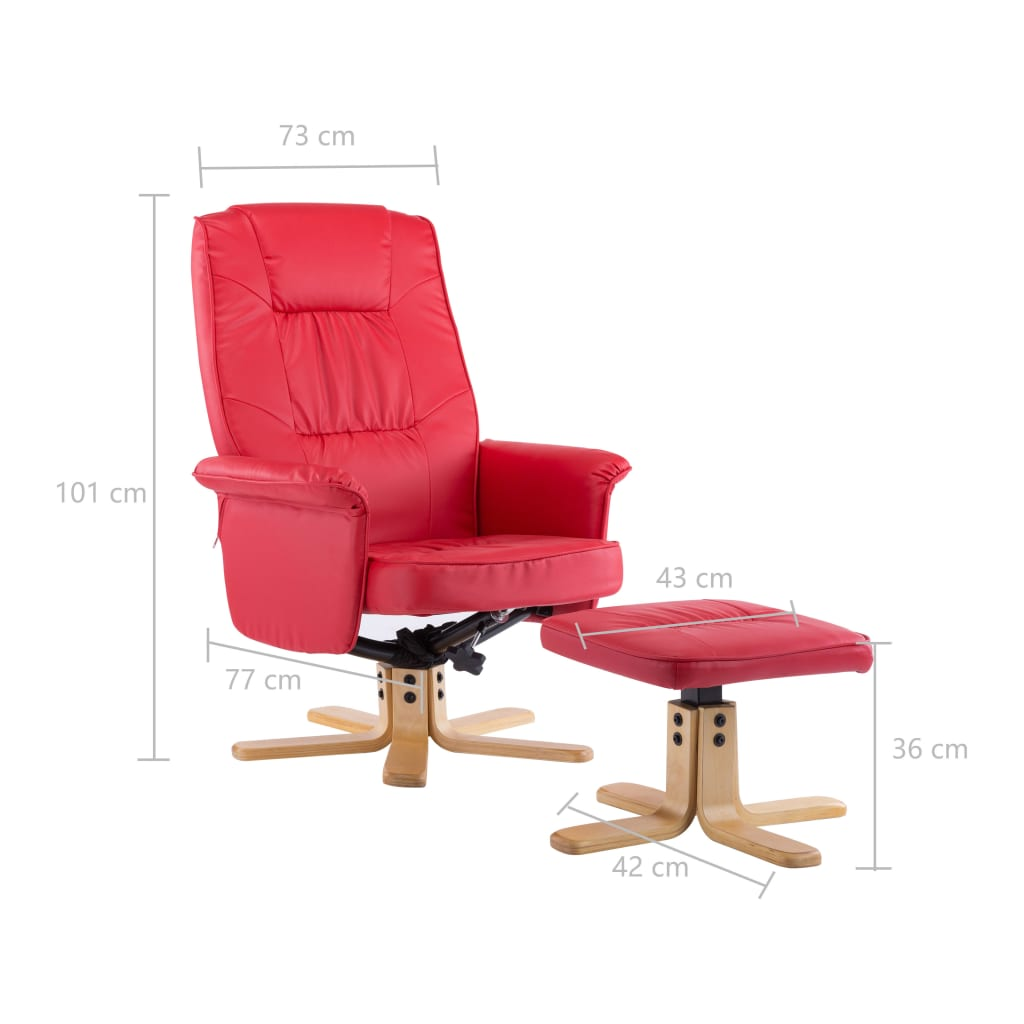 Armchair with Footrest Red Faux Leather 10