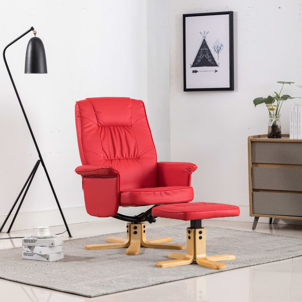 Armchair with Footrest Red Faux Leather 1