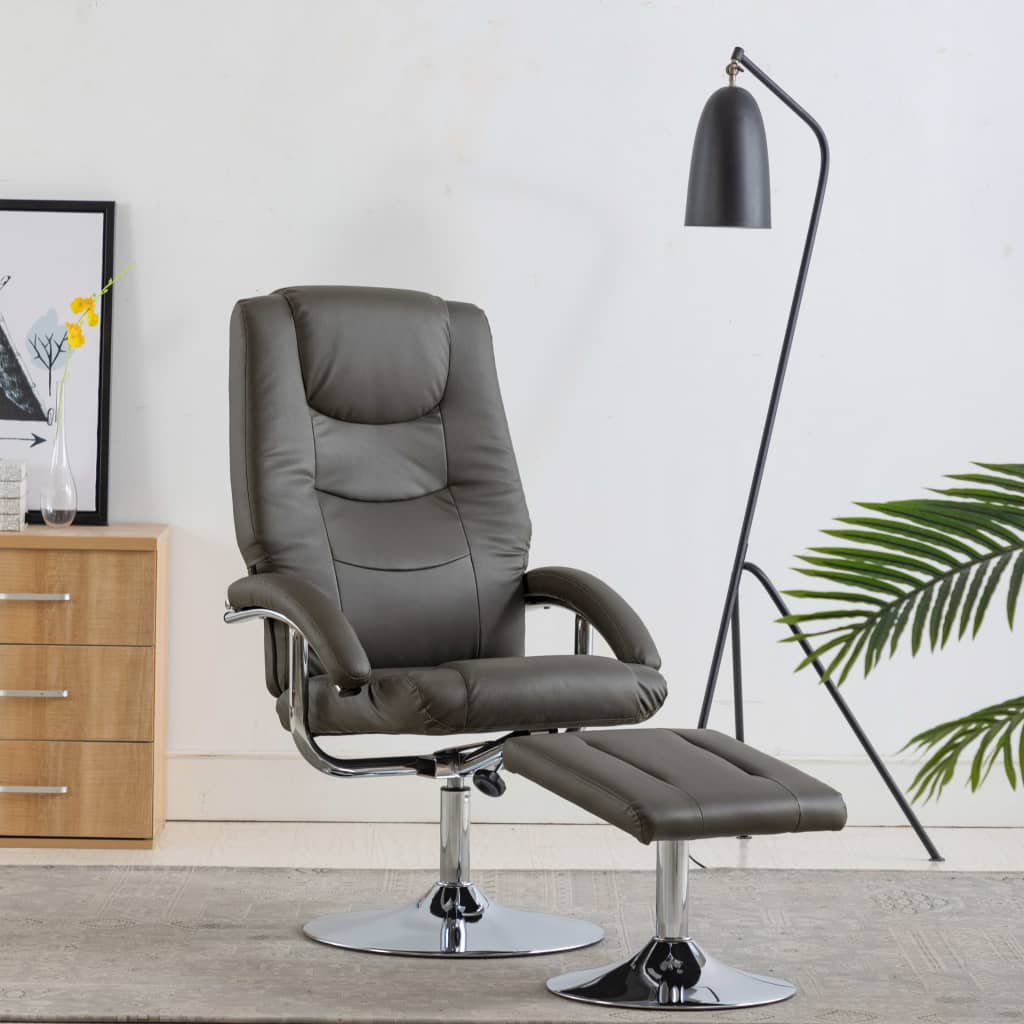 Reclining Chair with Footstool Grey Faux Leather 1