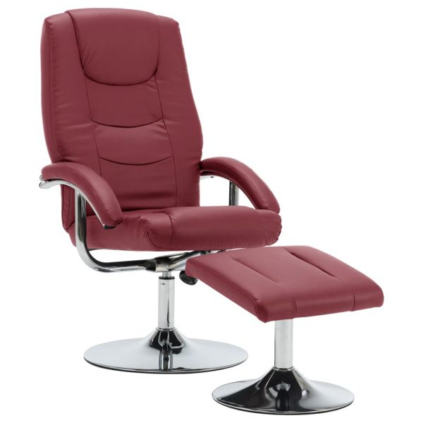 Reclining Chair with Footstool Wine Red Faux Leather 2