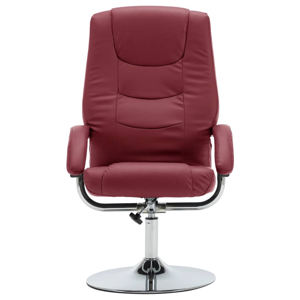 Reclining Chair with Footstool Wine Red Faux Leather 4