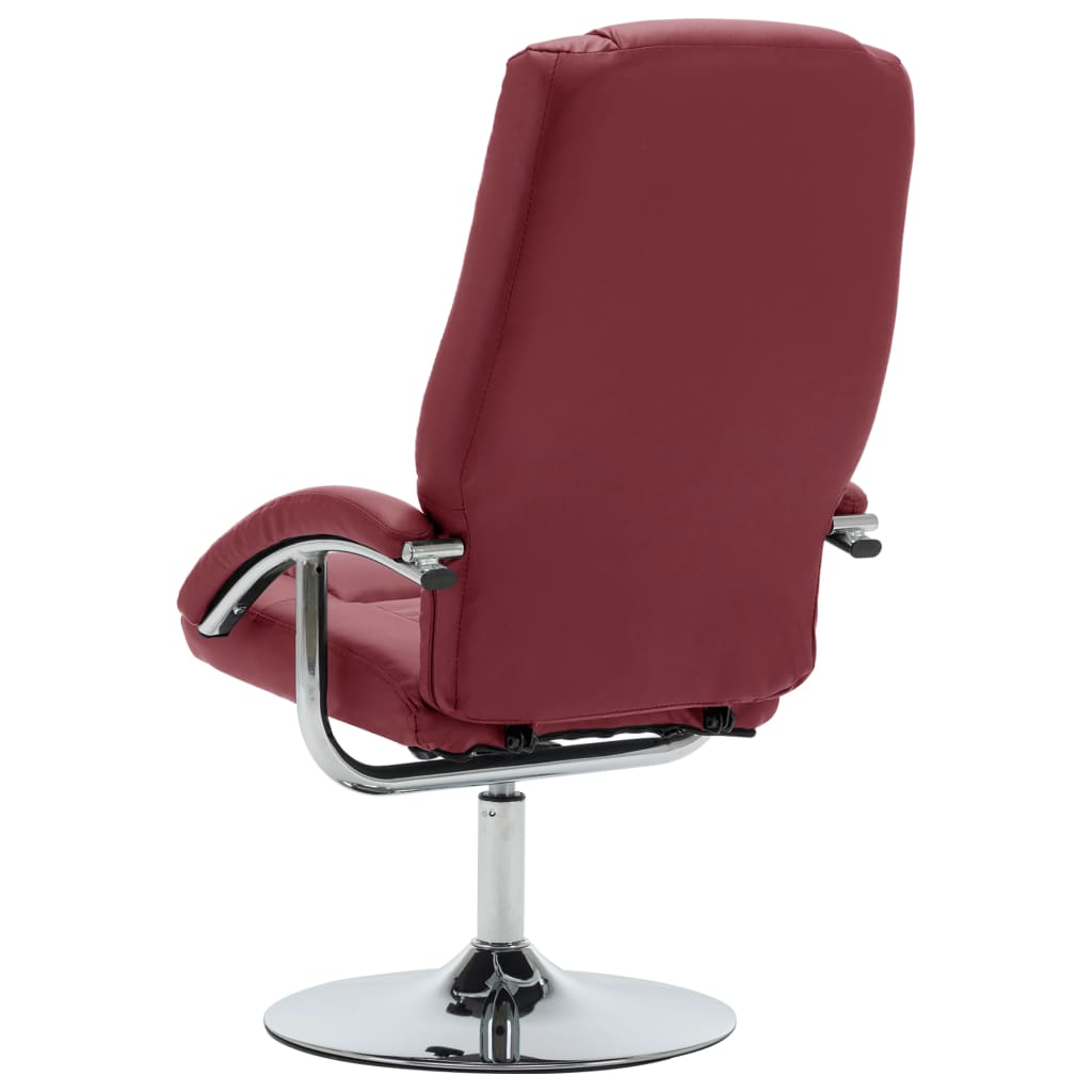 Reclining Chair with Footstool Wine Red Faux Leather 7