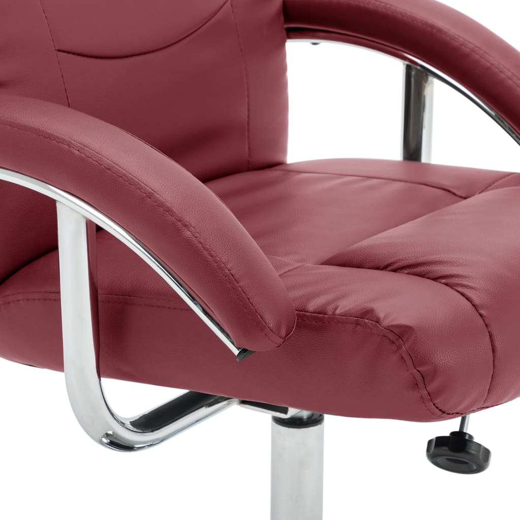 Reclining Chair with Footstool Wine Red Faux Leather 9