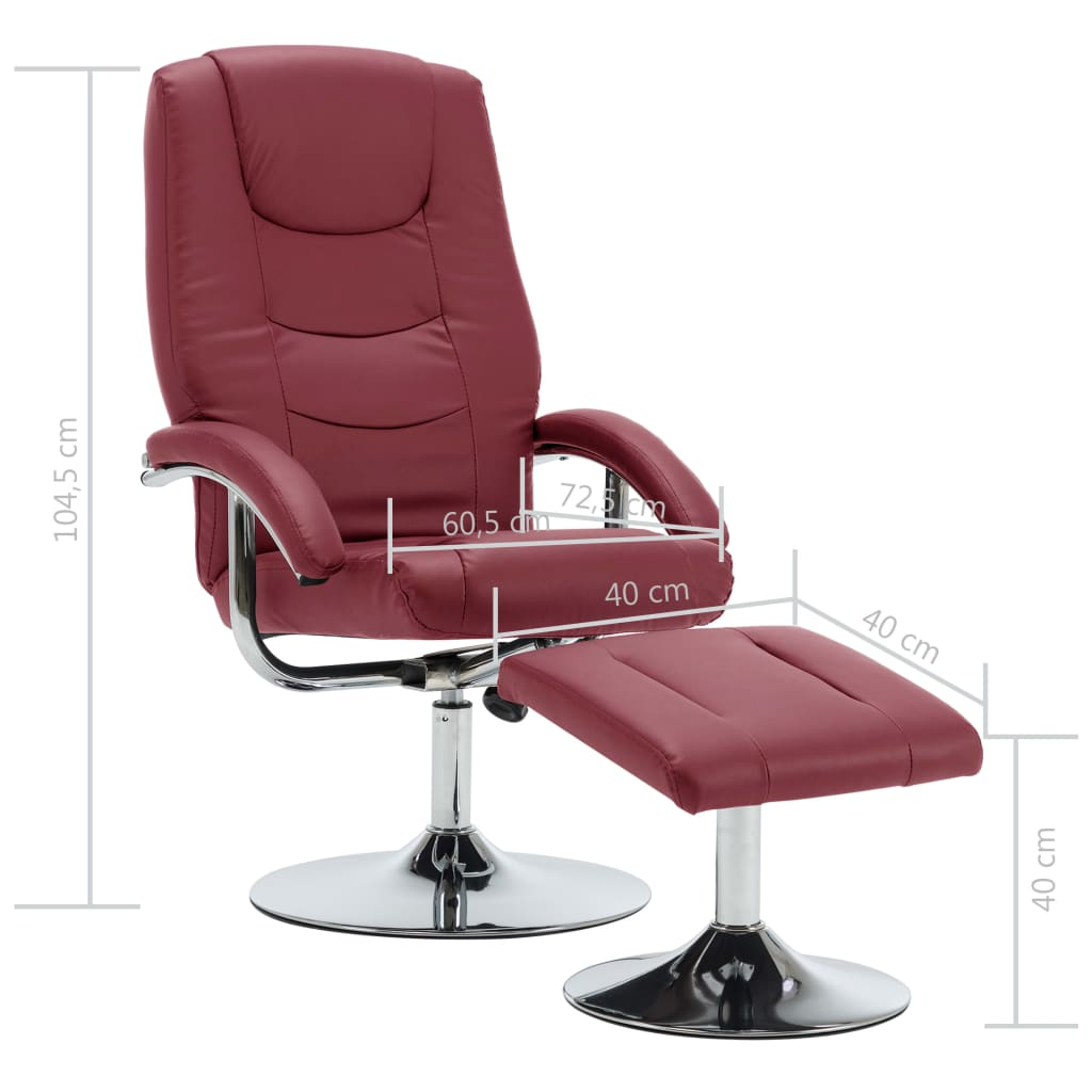 Reclining Chair with Footstool Wine Red Faux Leather 10